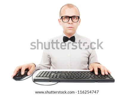 Computer geek with keyboard and mouse, isolated on white background - stock photo