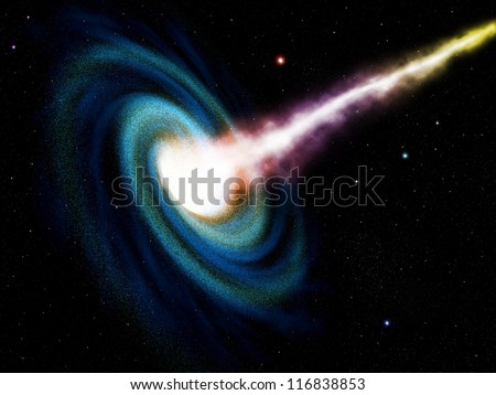 Computer generated black hole swallowing galaxy - stock photo