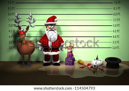 Computer-generated 3D cartoon illustration depicting a Christmas holiday police line-up - stock photo