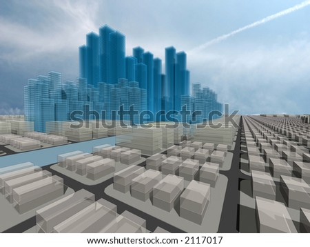 Computer generated 3d city model - stock photo
