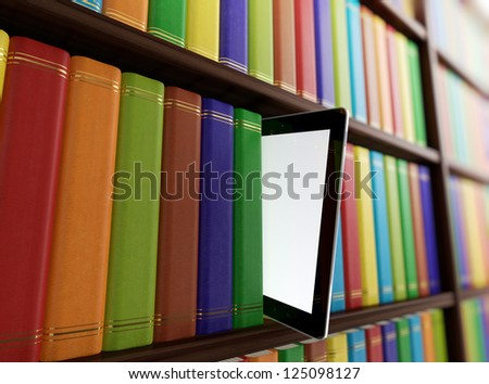 Computer generated 3D illustration of electronic library concept - stock photo