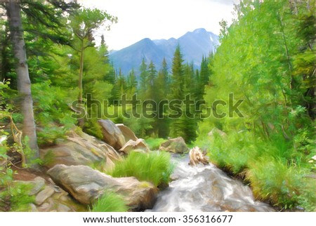 Computer generated digital art of a stream in the Rocky Mountains National Park along the Emerald Lake Trail. - stock photo