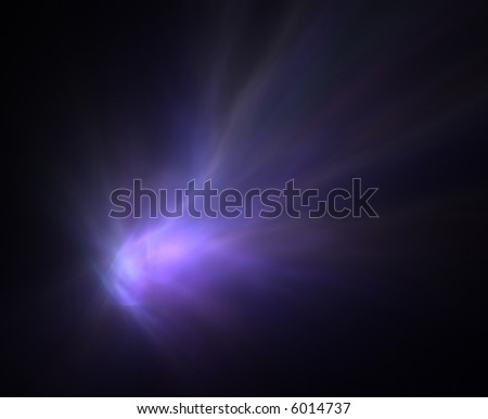 Computer generated fractal illustration of a comet trail on black - stock photo
