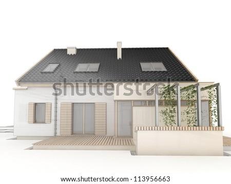 computer generated house design progress illustration - stock photo