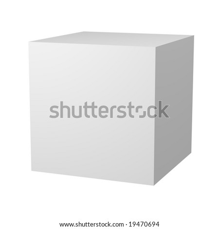 Computer generated image of a 3D blank white cube.  Customize this to make it your own. - stock photo