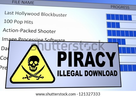 Computer generated image of an illegal piracy download. Concept for internet piracy. - stock photo