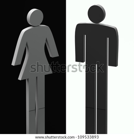 computer generated image three dimensional male female shape - stock photo