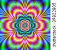 Computer generated image with a radiating abstract design in yellow green red and blue. - stock photo