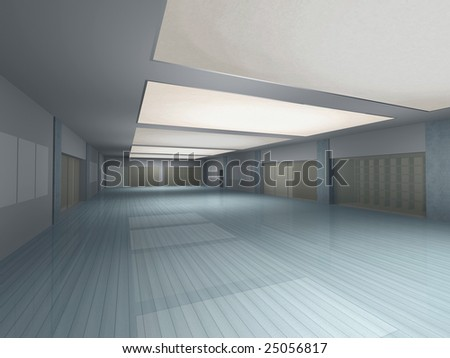 Computer generated long empty interior in perspective view - stock photo