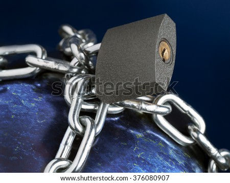 Computer generated planet Earth chained as metaphor of Prison Planet - stock photo