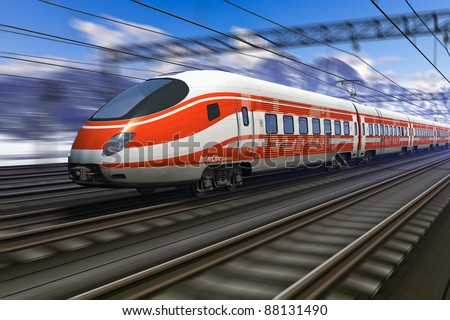 Computer generated red modern high speed train passing snowy mountain railroad station with motion blur effect - stock photo