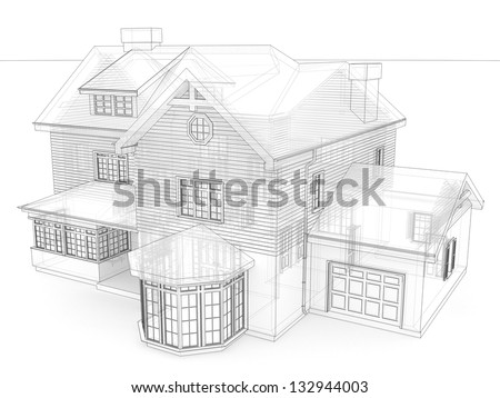 Computer generated visualization in transparent-technical drawing style of classic victorian house - stock photo