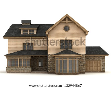 computer generated visualization of classic european - british - victorian house. - stock photo