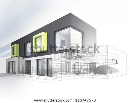 computer generated visualization of contemporary box house project - architects and designers work - stock photo