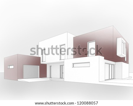 computer graphic of contemporary box house - architects and designers project work - stock photo