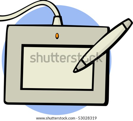 computer graphics tablet with pen - stock photo