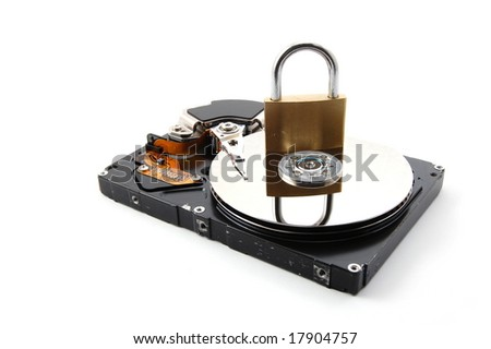computer hard disk drive and a padlock isolated on white background - stock photo