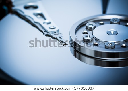 Computer Hard Disk Drive Close Up - stock photo