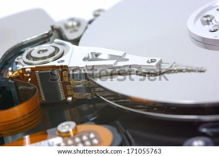 Computer hard disk drive, close up image - stock photo