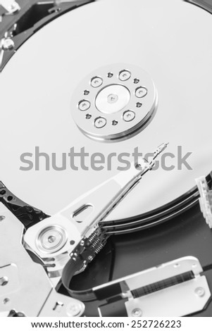 computer hard disk drive close-up shot. shallow depth of field. macro - stock photo
