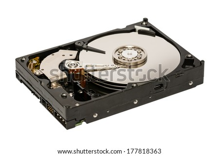 Computer Hard Disk Drive Isolated On White Background - stock photo