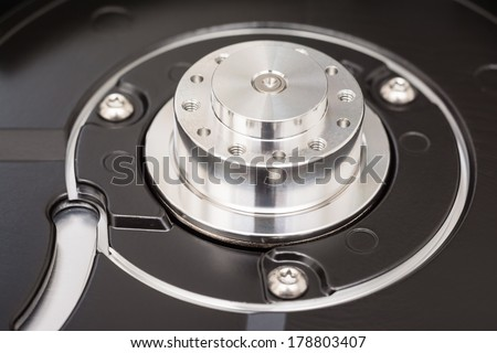 Computer Hard Disk Drive Spindle Close Up - stock photo