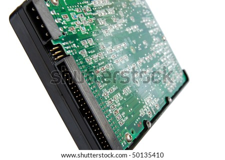 Computer hard drive isolated on white background . - stock photo