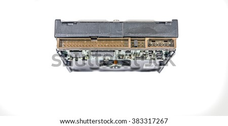 Computer Hard Drive Rear Interface Male: Rear view of a male forty or forty pin Integrated Drive Electronics, jumper and power supply connection interface of a standard computer hard drive. - stock photo