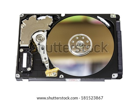 computer hard drive with disk reflections - stock photo