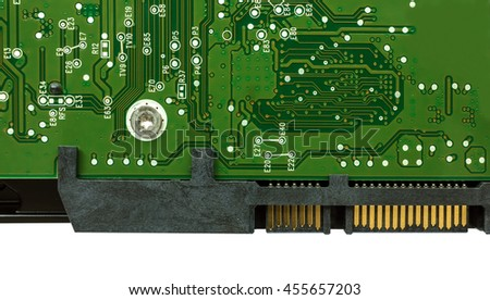 computer hard drive with printed motherboard and microcircuit, close-up - stock photo