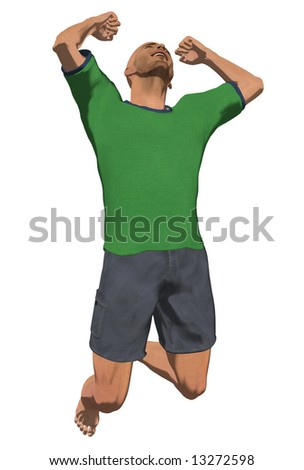 Computer Illustration of young man jumping with a happy expression on his face - stock photo