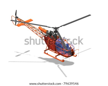 Computer image, red helicopter 3D, isolated white background - stock photo