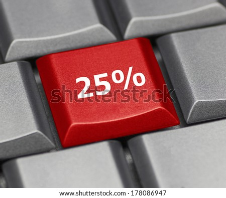 Computer key - 25% - stock photo