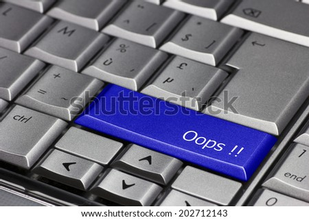 Computer key blue - Oops!  - stock photo