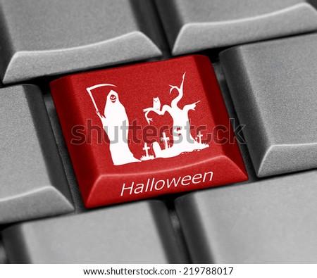 Computer key - Halloween - death - trunk - graveyard  - stock photo