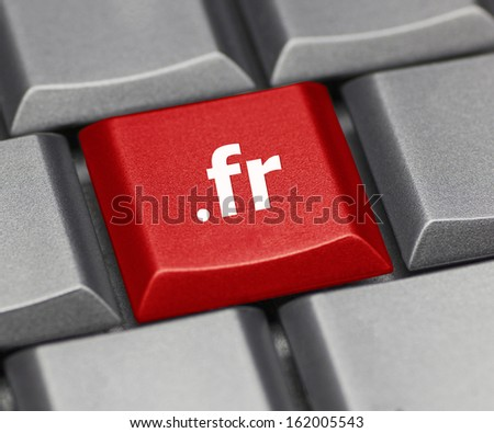 Computer key - Internet suffix of France - stock photo