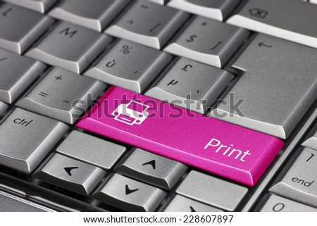 Computer key pink - Print with printer symbol - stock photo