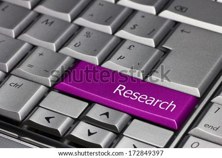 Computer Key purple - Research  - stock photo