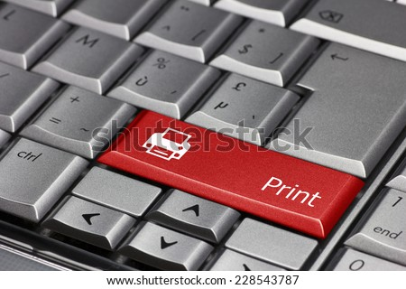 Computer key red - Print with printer symbol - stock photo