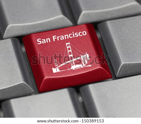 Computer key - San Francisco Golden Gate Bridge - stock photo
