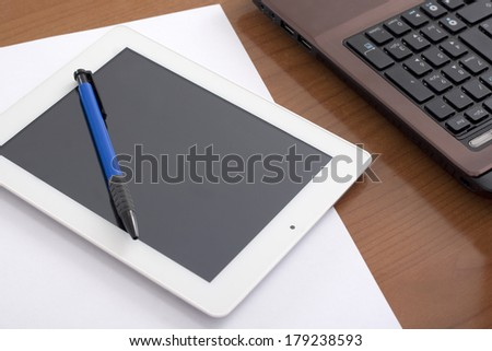 Computer Keyboard and Table on the Wooden Table - stock photo