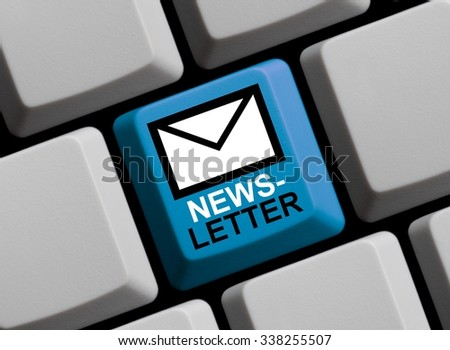 Computer Keyboard blue with Newsletter Symbol online - stock photo