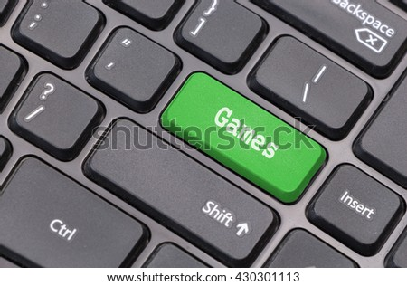 """Computer keyboard closeup with """"Game"""" text on green enter key - stock photo"""
