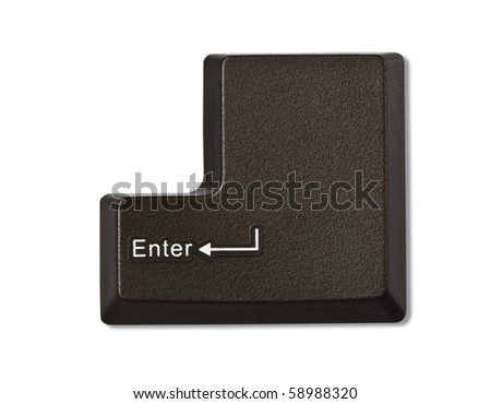 Computer keyboard - Enter, close-up isolated on white background - stock photo