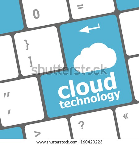 computer keyboard for cloud technology, raster - stock photo