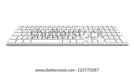 Computer keyboard isolated on white background. - stock photo