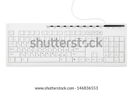 Computer keyboard isolated on white background  - stock photo
