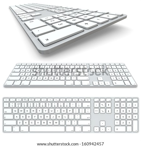 Computer keyboard isolated on white background. Top view, frontal view and close up. - stock photo