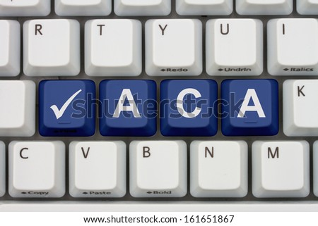 Computer keyboard keys with word ACA and check mark, Affordable Care Act is great - stock photo