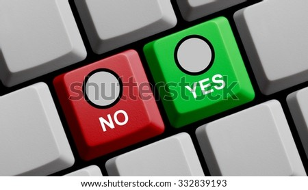 Computer Keyboard red an green showing yes or no - stock photo